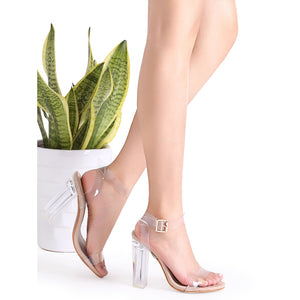Clear Ankle Strap | Peep Toe Heeled Sandals | Apricot