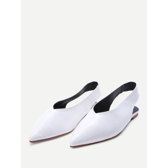 Pointed Toe | Sling Back Flats | White
