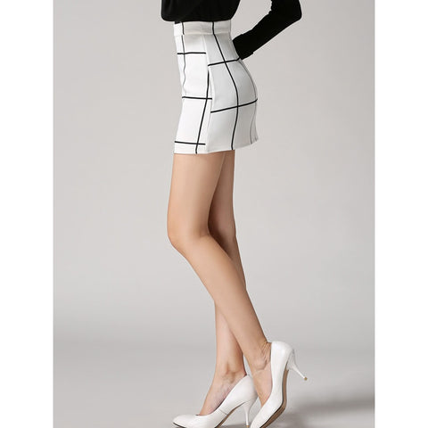 Checked | Bodycon Skirt | White