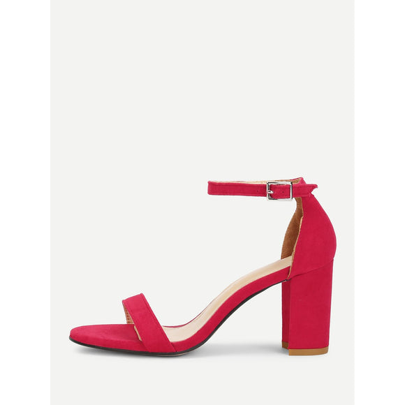 Mary Jane Heeled Sandals | Red Suede
