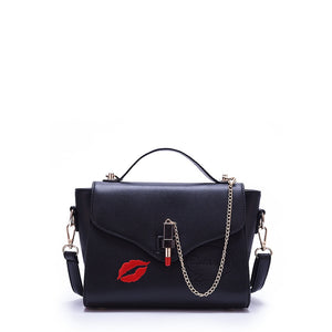 Kiss of Love |  Crossbody Flap Bag | Black