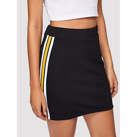 Striped | Side Skirt | Black with Yellow Stripe
