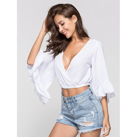 Deep V Neckline | Split Sleeve Knot Blouse | White