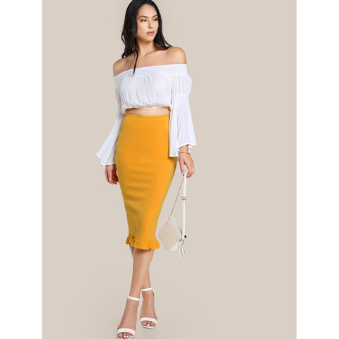 Split Ruffle | Hem Pencil Skirt | Yellow