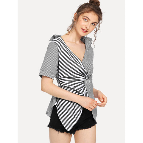 Contrast Striped Twist Front Blouse | Black