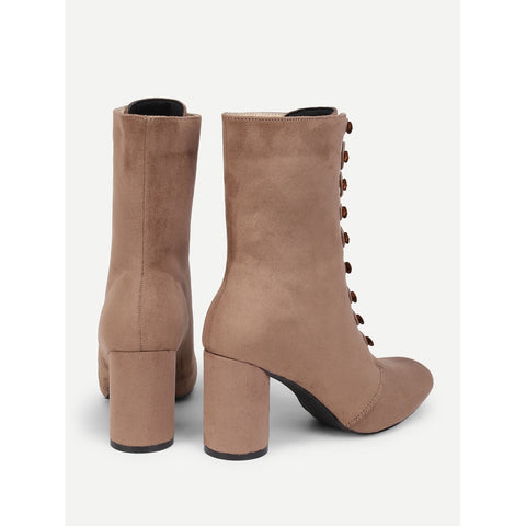 Pointed Toe | Block Heeled Suede Boots | Khaki