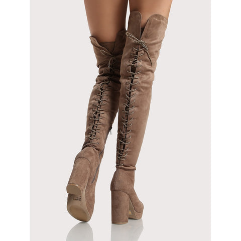 Back Lace Up | Platform Thigh High Boots | Khaki