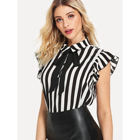 Neck Tie  | Contrast Striped Ruffle Top | Black & White