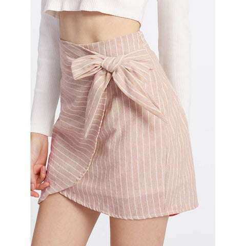 Side Knot  | Overlap Skirt | Light Pink