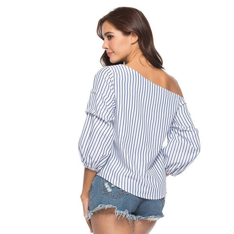 One Shoulder | Striped Top | Blue