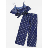 Polka Dot | Crop Cami Top And Palazzo Pants Set | Blue