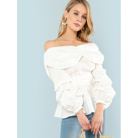 Belted Fold Over | Off Shoulder | Beige