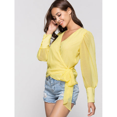 Knotted Sheer Wrap Blouse | Yellow