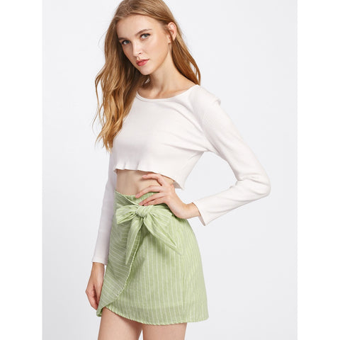 Side Knot  | Overlap Skirt | Green