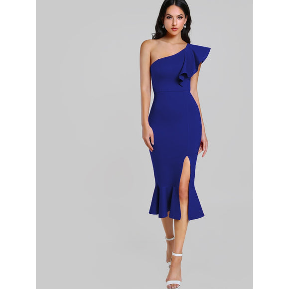Flounce | One Shoulder | Fishtail Dress | Blue