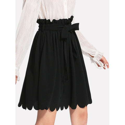 Self Belt | Textured Hem Skirt | Black