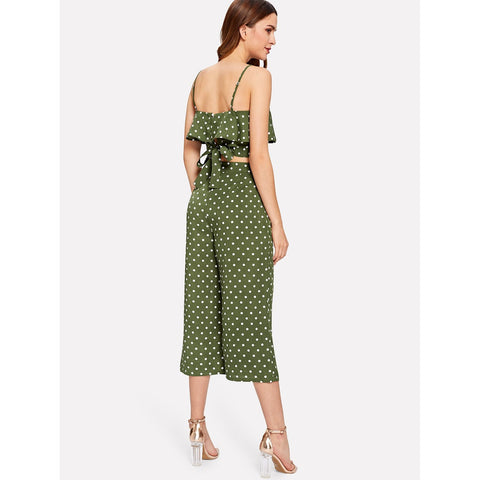 Polka Dot | Flounce Cami Top & Culotte Pants | Army Green