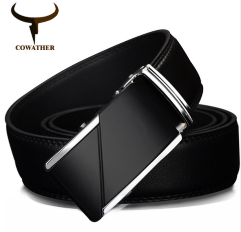 COWATHER | Genuine Leather | Alloy Automatic Buckle | Black