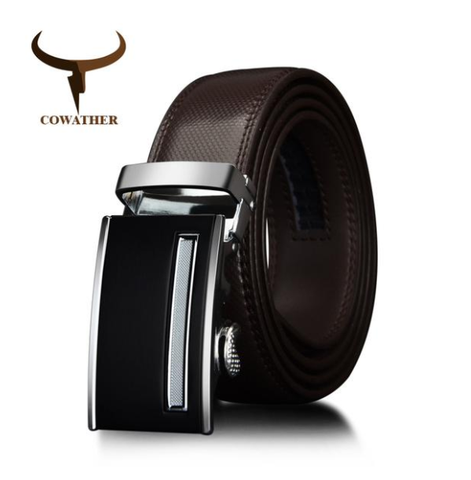 COWATHER | Genuine Leather | Alloy Automatic Buckle | Brown
