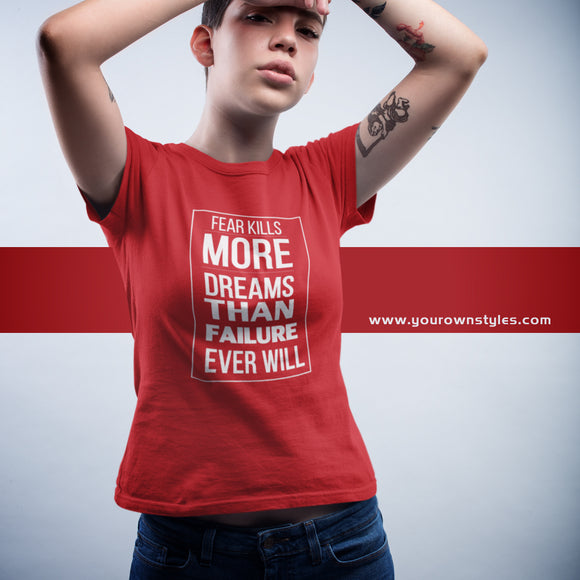 DREAMS OVER FEAR | Short sleeve T-Shirt | RED & TRUE ROYAL