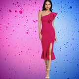 Flounce |  One Shoulder | Fishtail Dress | Hot Pink