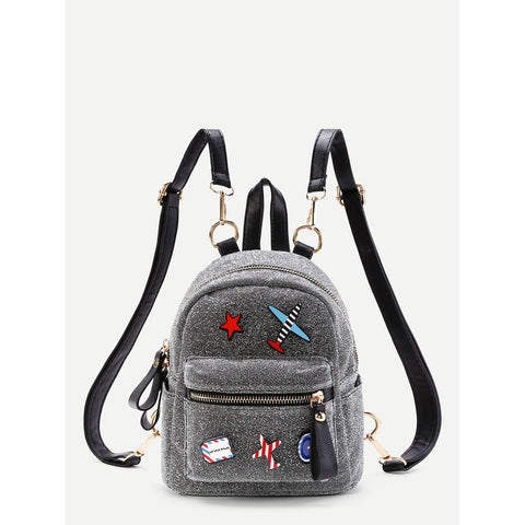 Airplane & Star | Small Backpack | Silver