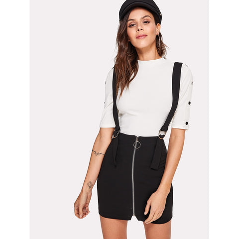 O-Ring Zip Up Skirt | With Buckle Strap | Black