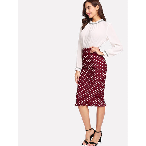 Ruffle Hem | Back Slit Skirt | Polka Dot