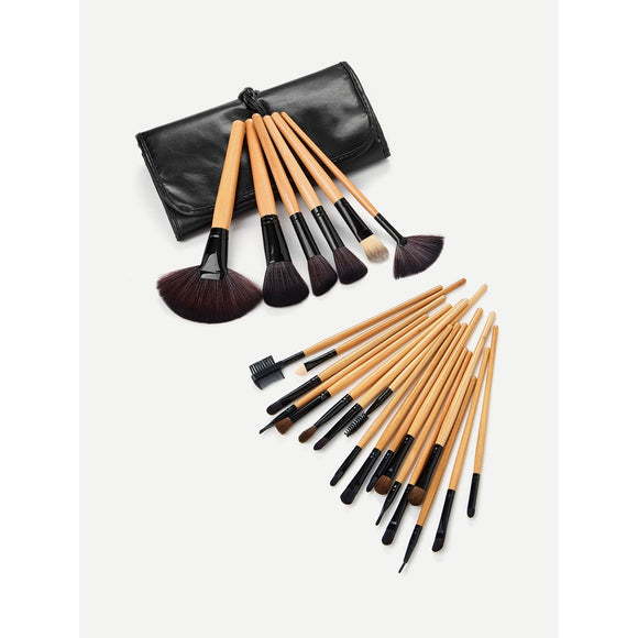 Professional Makeup Brush Set | 24PCS With Black Bag | Brown