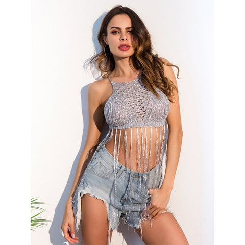 Fringe Hem | Halter Top | Grey