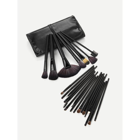Black Professional | 24 PCS Makeup Brush Set With Bag | Black