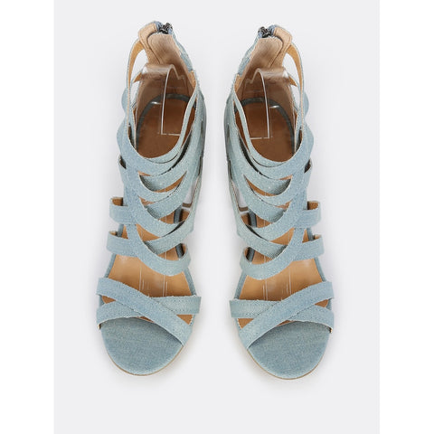 Denim | Caged Metallic Heel | LIGHT BLUE DENIM