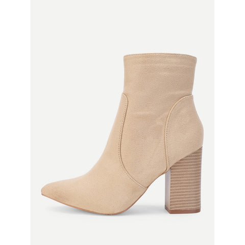 Block Heeled |  Side Zipper Ankle Boots |  Apricot