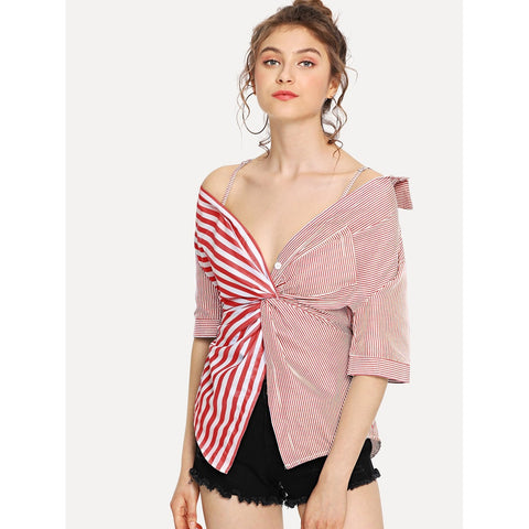 Contrast Striped Twist Front Blouse | Red