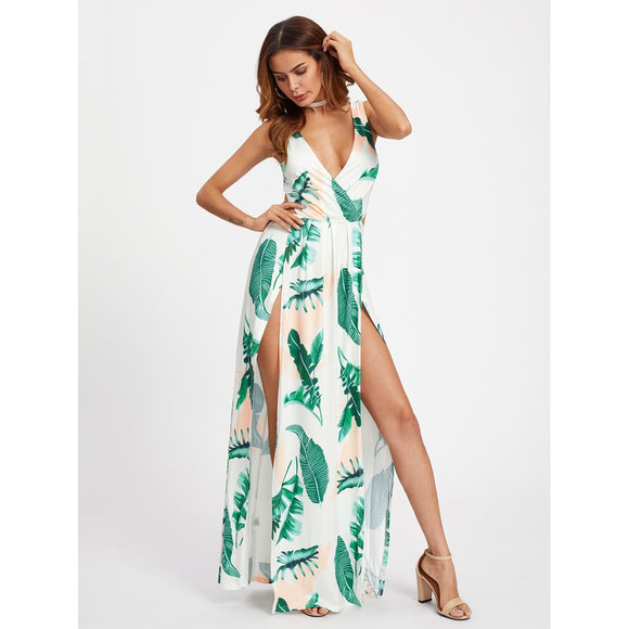 Open Back | M-Slit Dress | Palm Leaf Print