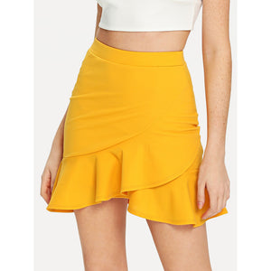 Ruffle Wrap | Hem Bodycon Skirt | Bright Yellow