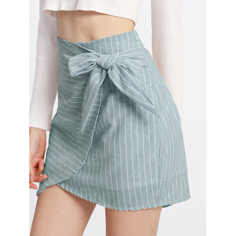 Side Knot | Overlap Skirt | Light Blue