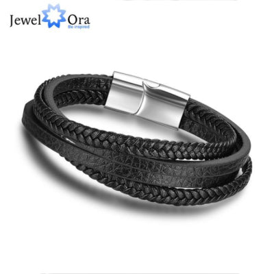 JewelOra | Leather Rope Bracelet | Stainless Steel