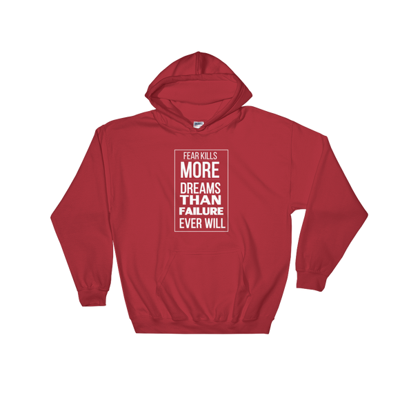 Dreams Over Fear | Hooded Sweatshirt | Red & White