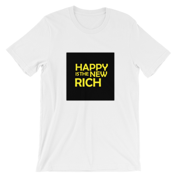 HAPPY is the NEW RICH | Men's Short-Sleeve T-Shirt | White