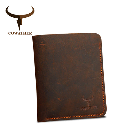 COWATHER | Vintage Leather Wallet | Vertical Style | Vintage Brown