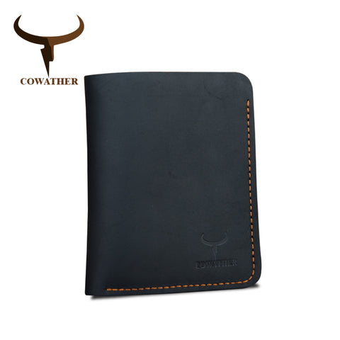COWATHER | Vintage Leather Wallet | Vertical Style | Black