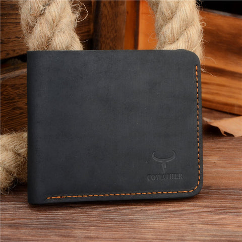 COWATHER | Vintage Leather Wallet | Cross Style | Black