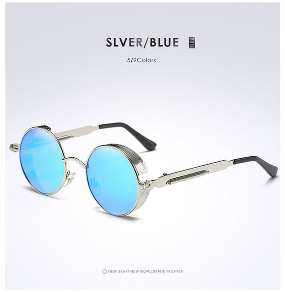 Steampunk Sunglasses | Retro Vintage | Silver Blue