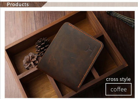 COWATHER | Vintage Leather Wallet | Cross Style | Vintage Brown