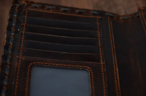 COWATHER | Vintage Leather Wallet | Long Style | Dark Brown