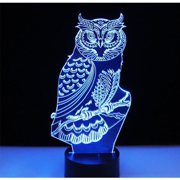 3D LED Night Lights Spiritual Owl with 7 Colors Light for Home Decoration Lamp Amazing Visualization Optical Illusion Awesome