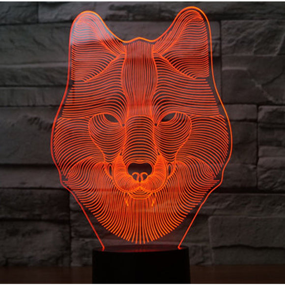 3D LED Night Light Wolf Head with 7 Colors Light for Home Decoration Lamp Amazing Visualization Optical Illusion Awesome