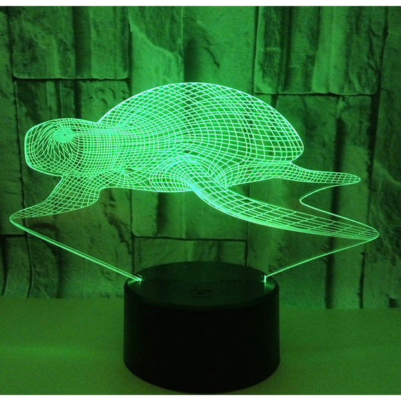 3D Sea Turtle | LED Lamp | Rechargeable | USB  Powered | White + Muti-Colors