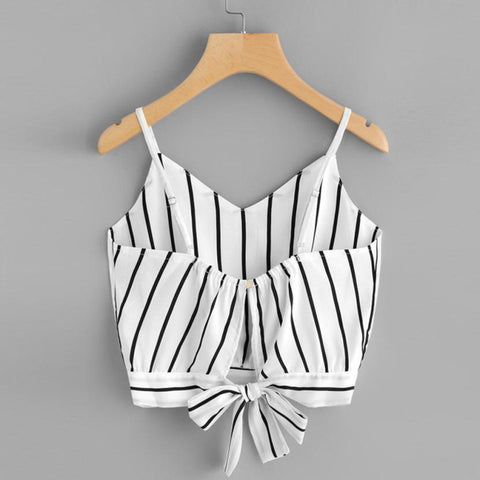 Casual Striped Top  | Camisole Style | White